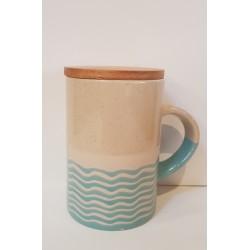 Mug rayures avec couvercle